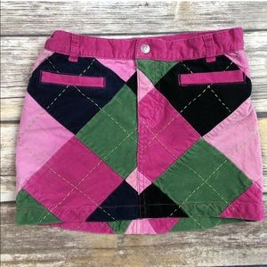 Lilly Pulitzer Argyle Corduroy Velour Preppy Skirt